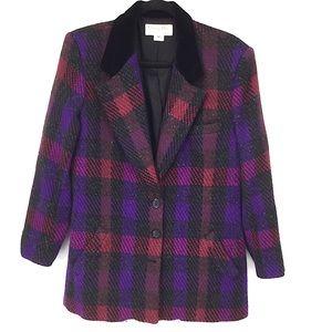 Christian Dior Vintage Plaid Blazer Jacket Tweed